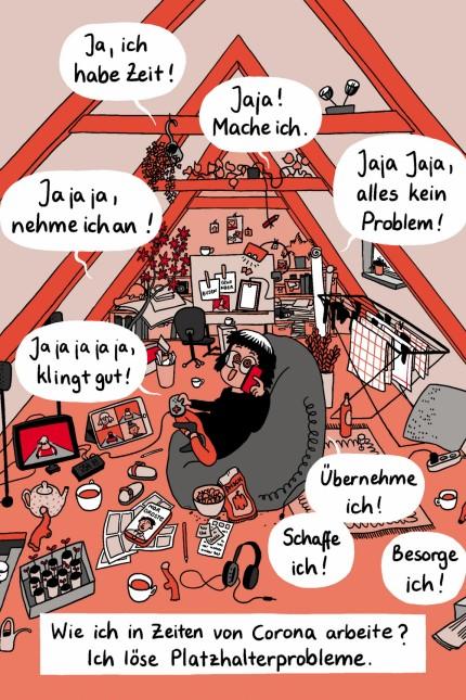 Comic: Das Comic-Ich von Lisa Frühbeis nimmt in der Krise einfach jeden Job an.