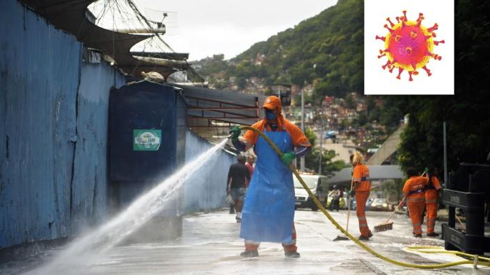 """Serie """"Welt im Fieber"""" Maßnahmen zur Bekämpfung des Coronavirus nahe der Favela Rocinha in Brasilien"""