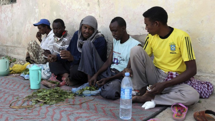 Somali men chew khat in Mogadishu