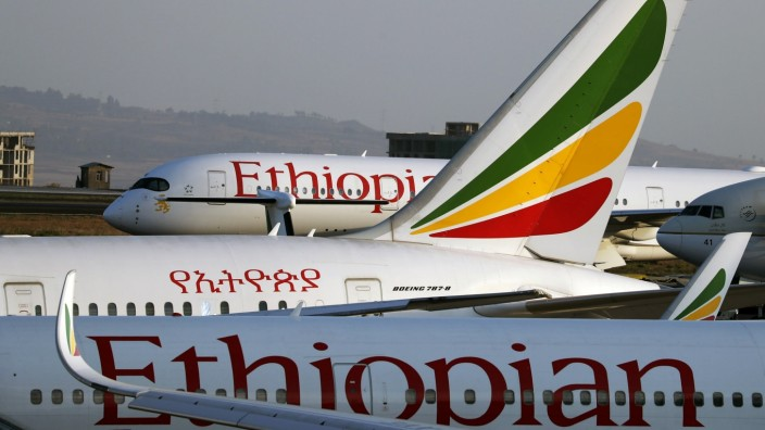 Grounded Ethiopian Airlines planes are seen in the airfield at the Bole International Airport amid concerns about the spread of coronavirus disease (COVID-19), in Addis Ababa