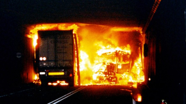 VEHICLES BURN INSIDE THE GOTTHARD TUNNEL AFTER TWO TRUCKS COLLIDE HEAD-ON