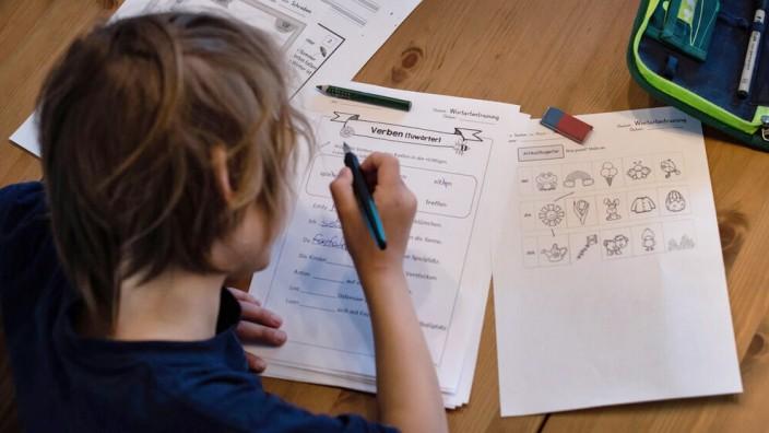 Homeschooling. Ein Junge füllt ein Arbeitsblatt für Grundschüler der 2. Klasse aus.