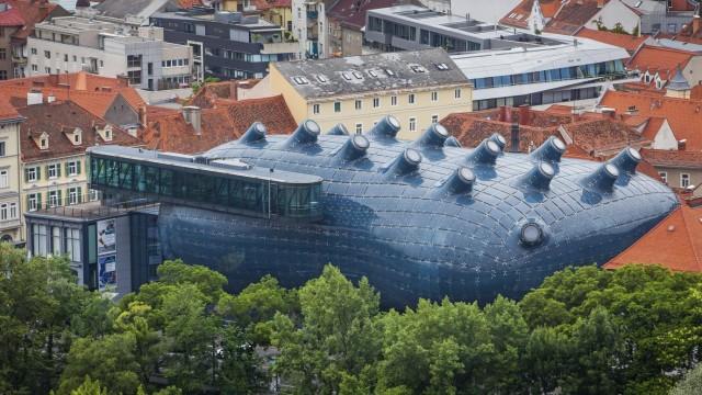 Roofs of the city and Kunsthaus, Graz Art Museum, view from Schlossberg, castle mountain, Graz, Austria Graz Austria Cop