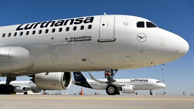FILE PHOTO: A Lufthansa plane parked in Frankfurt, Germany
