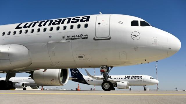 FILE PHOTO: A Lufthansa plane parked in Frankfurt, Germany