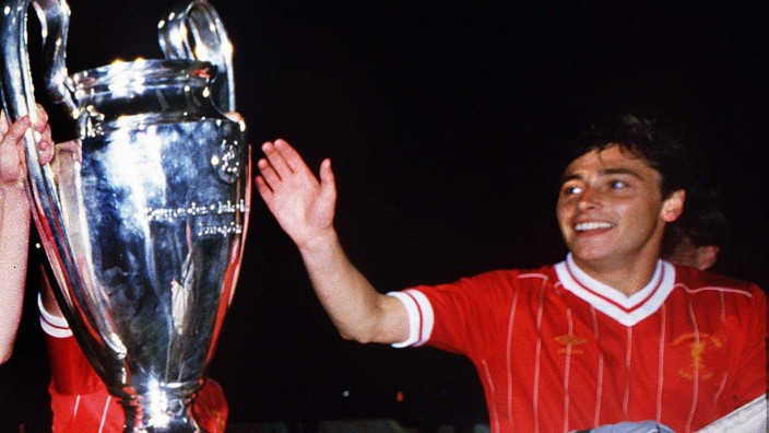 Football Michael Robinson Liverpool touches the trophy Liverpool v Roma European Cup Final 1984; Michael Robinson