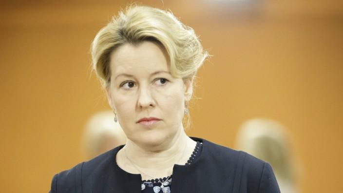 Bundesfamilienministerin Franziska Giffey, SPD, aufgenommen vor Beginn einer Kabinettssitzung im Bundeskanzleramt. Berl