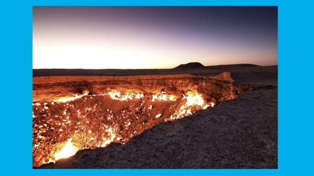 Feuerkrater Gaskrater Krater von Derweze Darwaza Tor zur Hölle Wüste Karakum Dashoguz Turkme