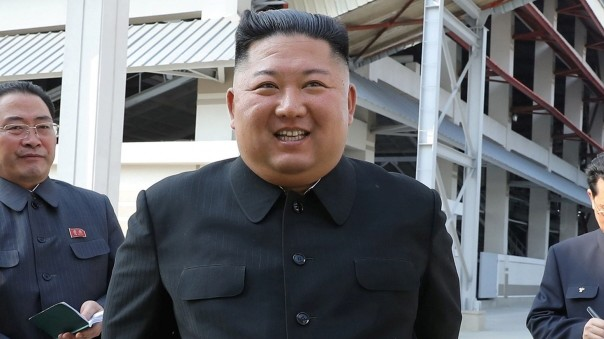 North Korean leader Kim Jong Un attends the completion of a fertiliser plant north of Pyongyang