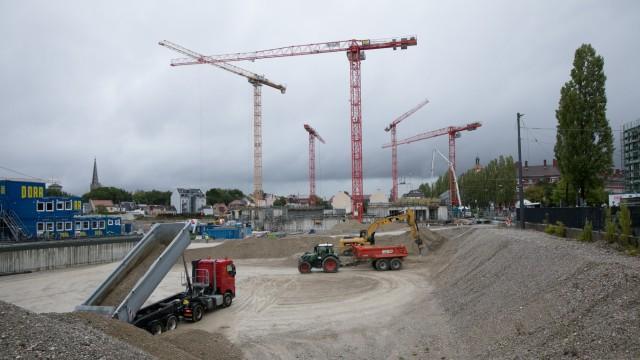 Baustelle auf dem vormaligen Paulaner Areal in der Au, hier im September2019.