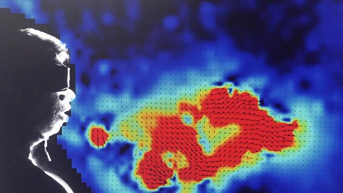 Neubiberg: Mittels spezieller Messverfahren kann Professor Christian Kähler von der Bundeswehr-Universität in Neubiberg die Bewegung von kleinen Luftpartikeln festhalten. Je röter die Anzeige, desto schneller bewegen sie sich fort.