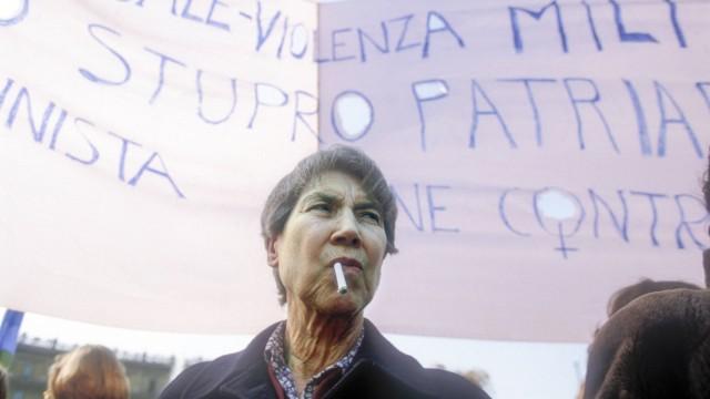 Rome March 10 1984 Italian writer Natalia Ginzburg taking part in Io donna per la pace I woman f