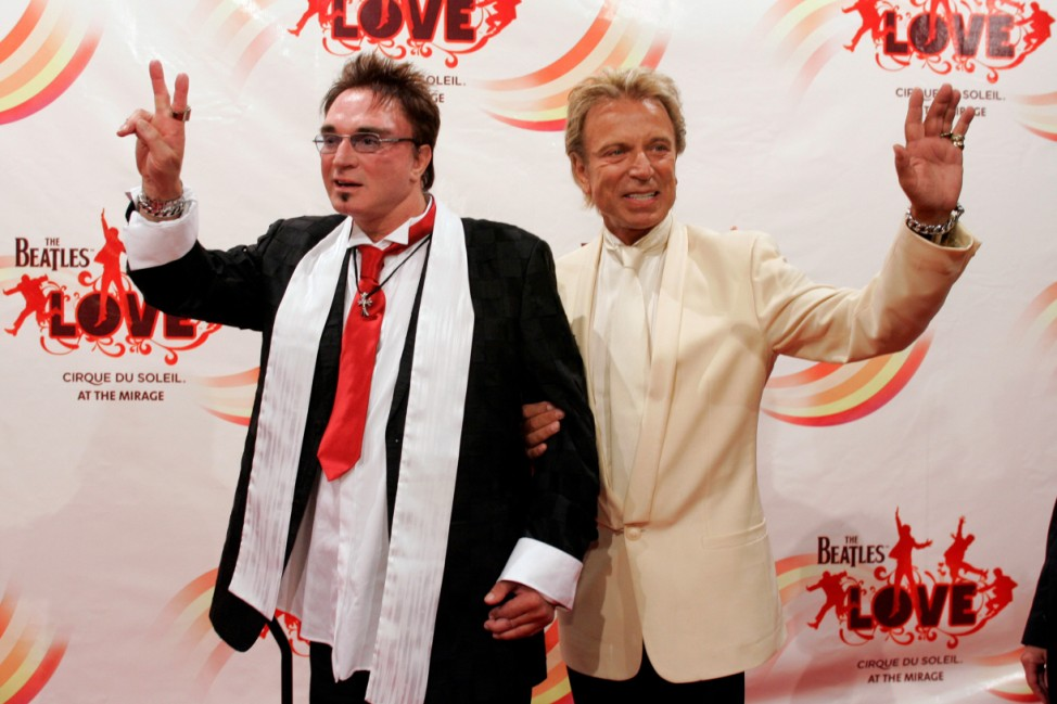 FILE PHOTO: Magicians Horn and Fischbacher pose after attending gala premiere of 'The Beatles LOVE by Cirque du Soleil' in Las Vegas