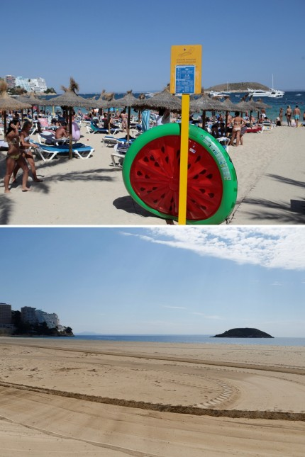 A combination photo shows tourists in the beach, August 18, 2017, and the beach empty during the coronavirus disease (COVID-19) outbreak in Magaluf