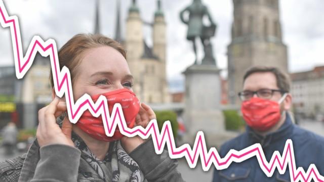 Coronavirus: Menschen mit Mundschutz in Halle/Saale