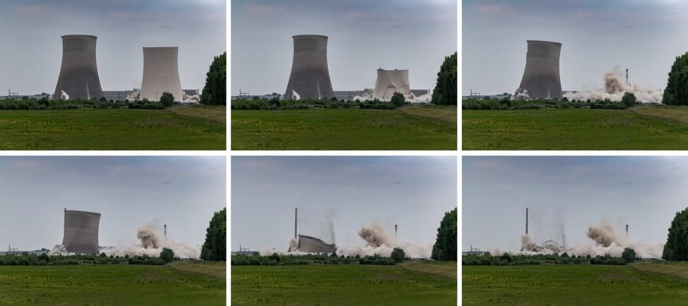 KOMBO - Kernkraftwerk Philippsburg - Sprengung der Kühltürme