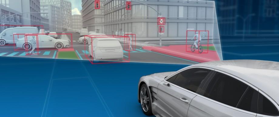 Bild des Umfelds, das eine Frontkamera aus dem Auto erkennt. Copyright ZF, Online-Rechte frei