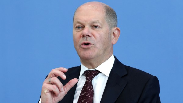 German Finance Minister Olaf Scholz atends a news conference in Berlin