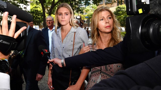 SHAYNA JACK ASADA BRIEFING Australian swimmer Shayna Jack left and her mother Pauline right are