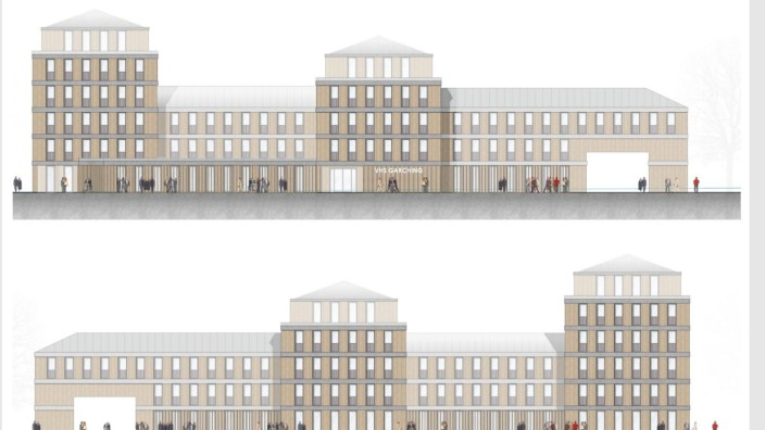 Garching: So oder ähnlich könnte das neue Gebäude für die Volkshochschule an der Garchinger Telschowstraße einmal aussehen.