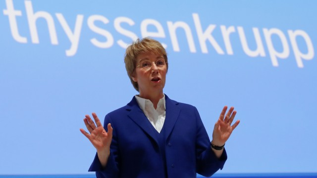 FILE PHOTO: Martina Merz, CEO of German steelmaker Thyssenkrupp AG, attends the annual shareholders meeting in Bochum