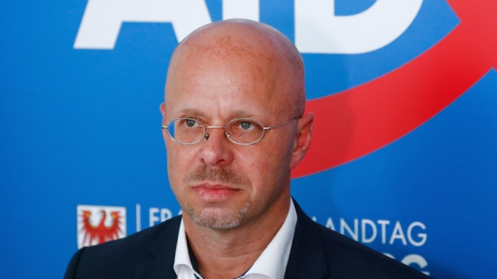 Kalbitz gives a news conference after a meeting of the Brandenburg AfD state parliament faction in Potsdam