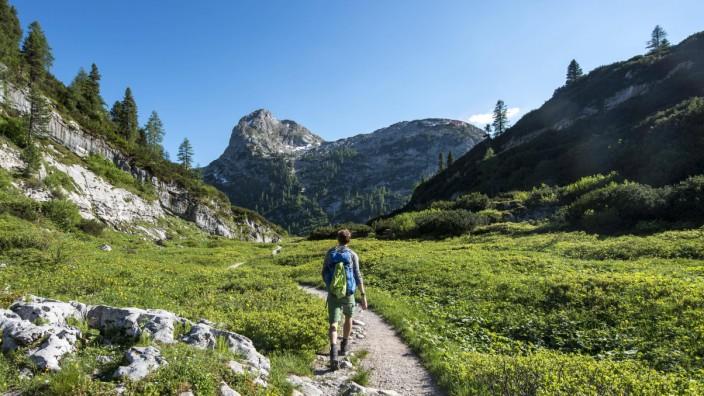 Wanderer auf Wanderweg zum Kärlingerhaus hinten Gipfel Viehkogel Nationalpark Berchtesgaden Berch