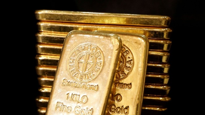 FILE PHOTO: Gold bullions are displayed at GoldSilver Central's office in Singapore