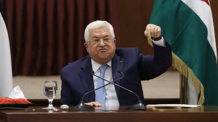Palestinian President Abbas delivers a speech in Ramallah