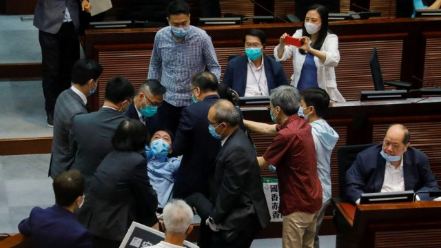 Protest against new security laws during Legislative CouncilâÄÖs House Committee meeting, in Hong Kong