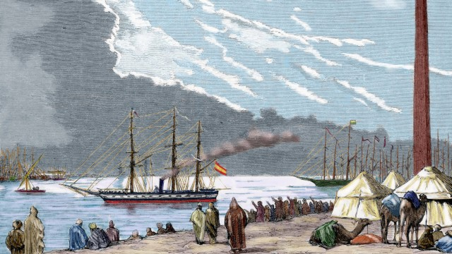 Egypt The Spanish frigate Berenguela by the Suez Canal the first large scale ship that carried out
