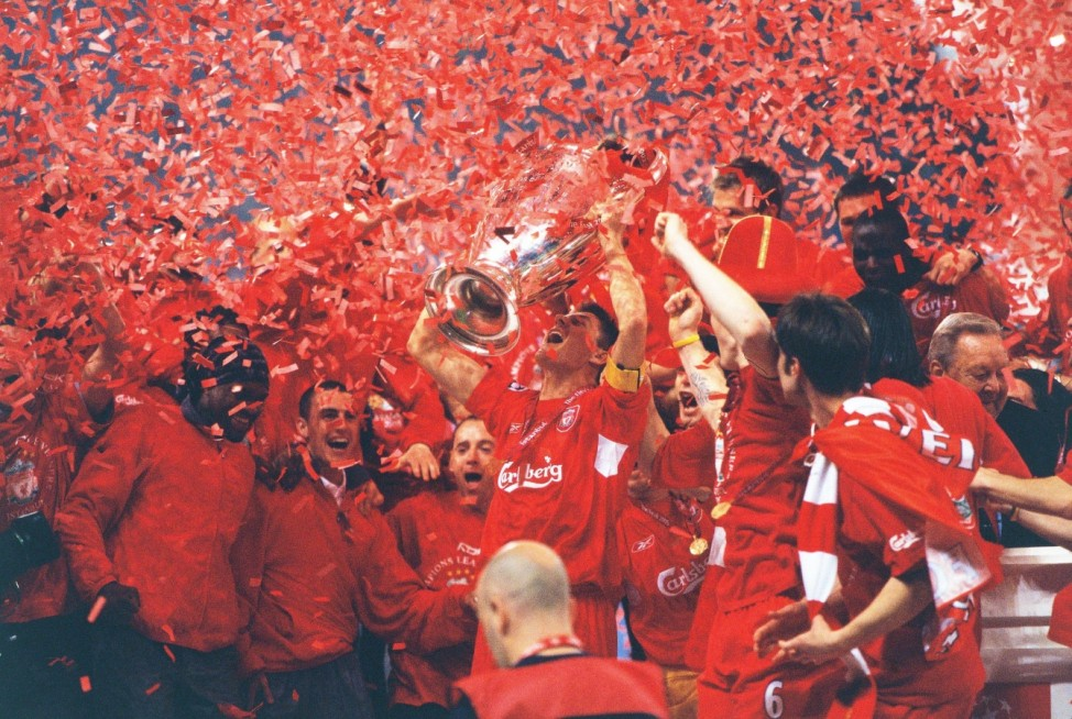 Steven Gerrard (Liverpool FC), MAY 25, 2005 - Football : Liverpool players celebrate their Victory after winning the UE; champions league milan liverpool 2005