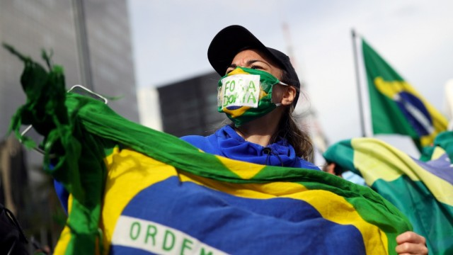 Protest against quarantine measures amid the coronavirus disease (COVID-19) outbreak in Sao Paulo