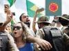 Demonstrators take part in a protest in favor of Brazillian President Jair Bolsonaro in front of the Planalto Palace, amid the coronavirus disease (COVID-19) outbreak, in Brasilia