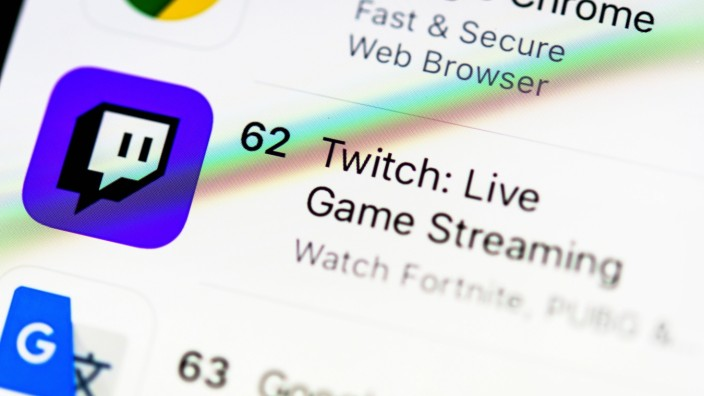 Twitch App, Live Streaming für Gamer, App-Icon, Detail, formatfüllend *** Twitch App, live streaming for gamers, app ic