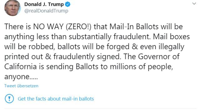 Trump-Tweet 1 auf Twitter zu Briefwahl und Fälschungen mit Hinweis.