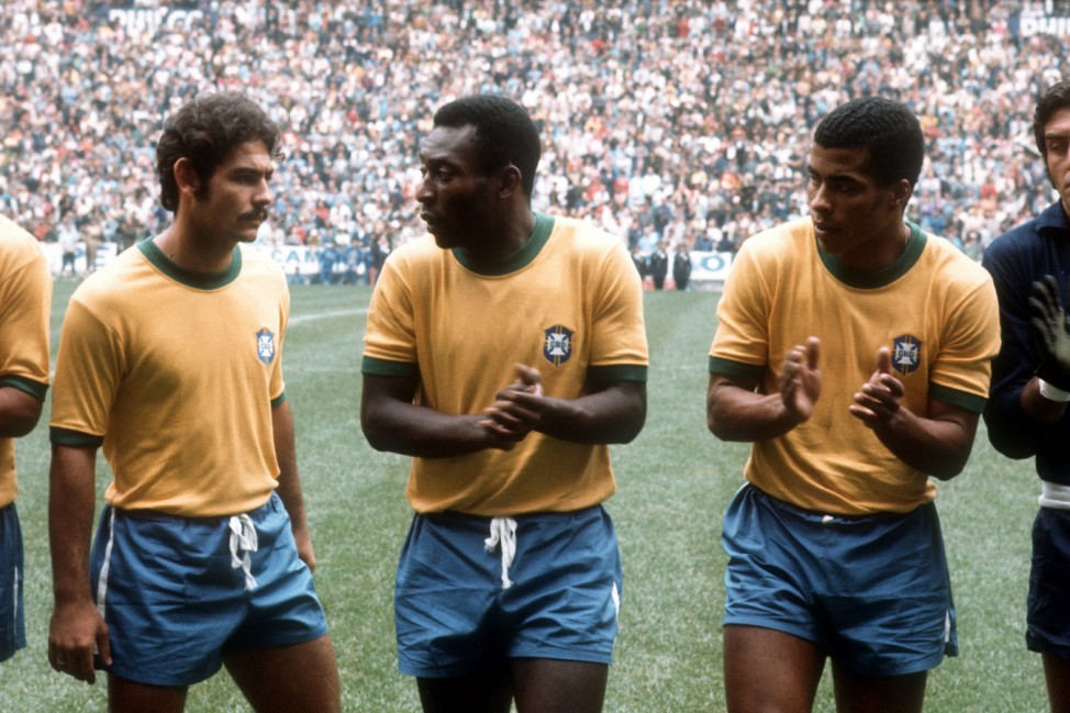 Weltmeisterschaft Finale Brasilien Italien in Mexiko Stadt v li Rivelino Pele Jairzinho all; WM 1970