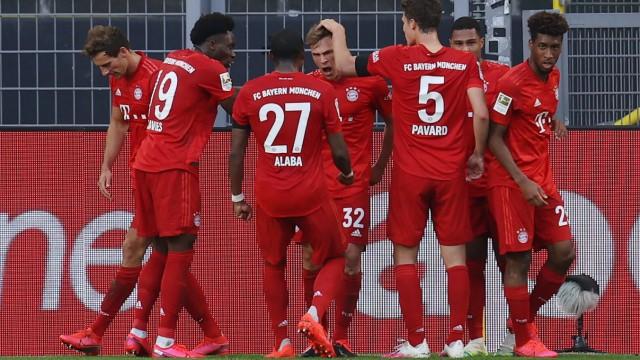 Fussball: 1. Bundesliga: Saison 19/20: 28. Spieltag: Borussia Dortmund - FC Bayern München, Torjubel um Joshua Kimmich