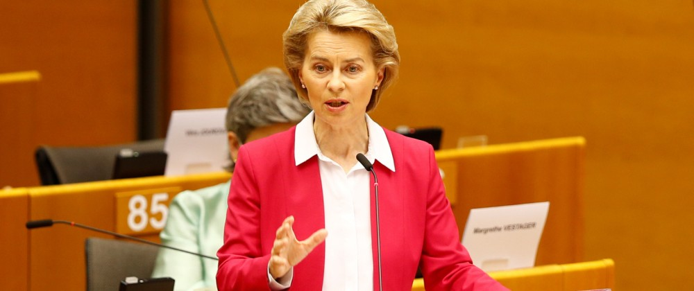 European Commission President Ursula von der Leyen addresses the Plenary of the European Parliament, amid the coronavirus disease (COVID-19) outbreak, in Brussels