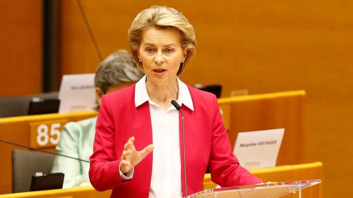 European Commission President Ursula von der Leyen addresses the Plenary of the European Parliament, amid the coronavirus disease (COVID-19) outbreak, in Brussels