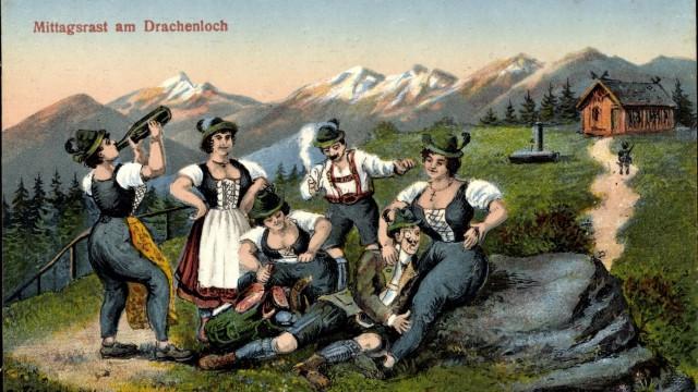 Mittagsrast am Drachenloch Bayrische Trachten AUFNAHMEDATUM GESCHÄTZT