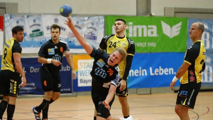 Handball Herren Bayernliga Saison 2019-2020 Haspo Bayreuth gegen HSC 2000 Coburg II Haspo Bayreuth Spieler Nr.: 24 Yanni; Handball Bayernliga Haspo Bayreuth