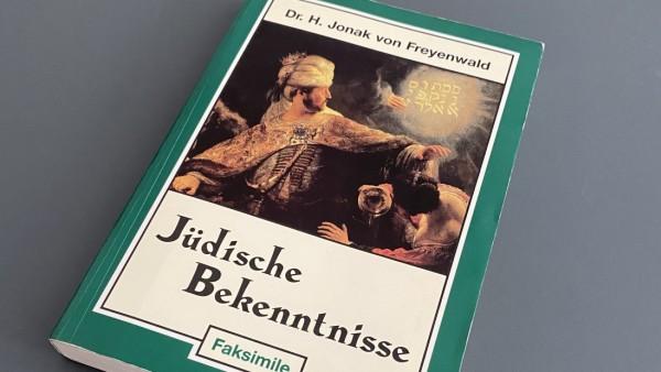 """Von dem österreichischen Rechtspopulisten Heinz-Christian Strache in den Neunzigerjahren verschenktes antisemitisches Buch """"Jüdische Bekenntnisse"""" samt von Strache verfasster antisemitischer Widmung"""
