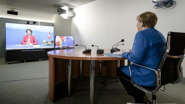Videokonferenz Merkel und Sommaruga