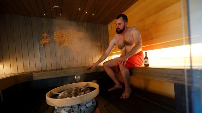 EstonianSaunas company owner Rang enjoys sauna in Kunka