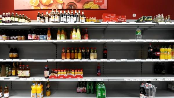 Supermarkt in München während der Corona-Krise, 2020