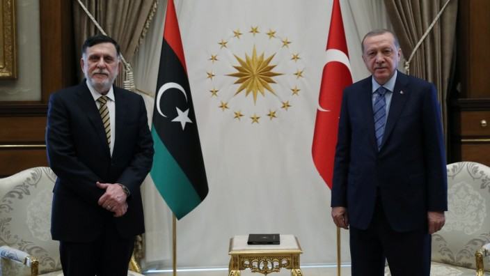 Turkish President Erdogan meets with Libya's internationally recognised PM al-Serraj in Ankara