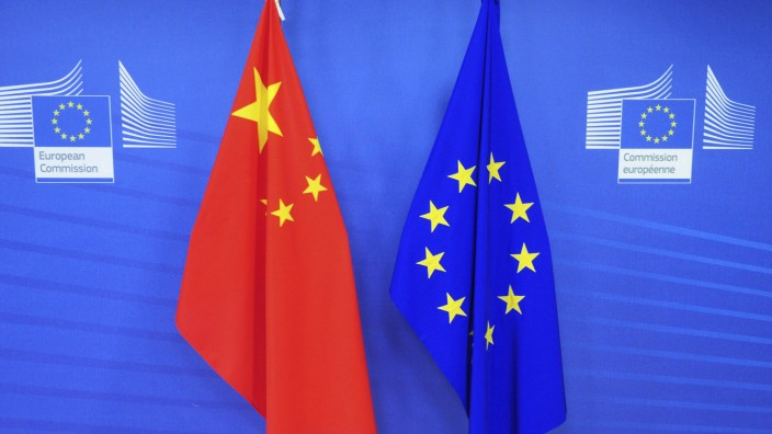 June 1 2018 Brussels Bxl Belgium Chinese and European Union flags at European Commission head