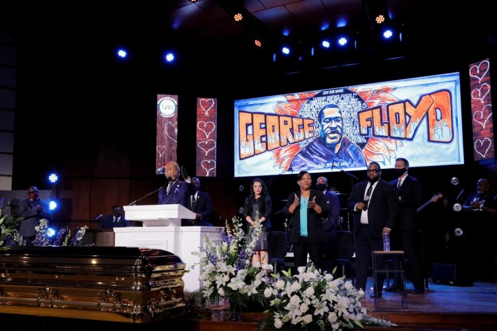 Reverend Al Sharpton speaks during a memorial service for George Floyd following his death in Minneapolis police custody, in Minneapolis