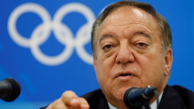 FILE PHOTO: International Weightlifting Federation President Tamas Ajan of Hungary speaks during a news conference at the Beijing 2008 Olympic Games